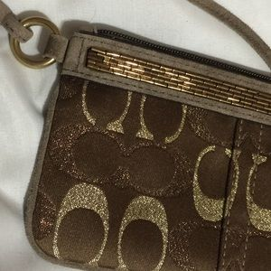Coach signature pattern, wristlet with beading